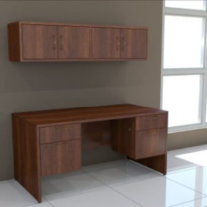 Double Pedestal Desk & Wall Mounted Hutch