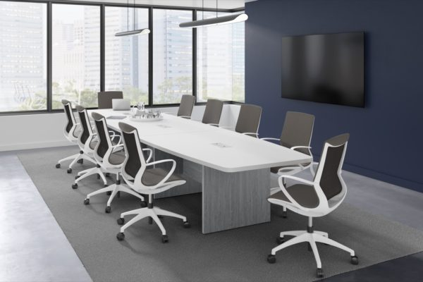 boat shaped conference table with marics chairs from Superior Office Services Nashville, TN