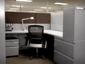 remanufactured cubicle with brown dividers
