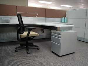 remanufactured cubicle with brown panels