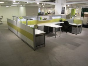 remanufactured cubicles with lime dividers