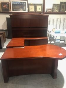 Used Desks with Cherry Finish L-Shaped etc