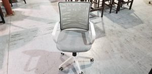 White office chairs with grey mesh