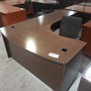 Bowfront L-Shaped Desk – Espresso (used)