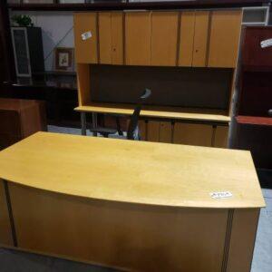 Desk and Credenza with Hutch – Oak