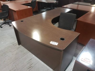 Espresso Bowfront Drawerless Desk Espresso finish used