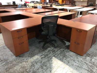 Cherry L-Shaped Desk used office furniture nashville superior office services