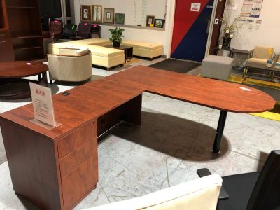 Cherry P-Top L-Shape Office Desk